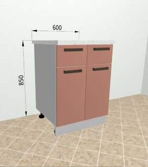 Шкаф нижний 2 ящика С2Я 600 Ройс