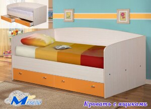 Кровать с ящиками 0,9 ЛДСП с матрасом