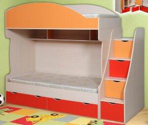 Кровать двухъярусная Бемби-7 0,9 с матрасами