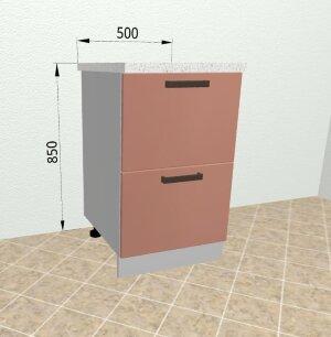 Шкаф нижний 2 ящика с метабоксами КМЯ 500 Ройс