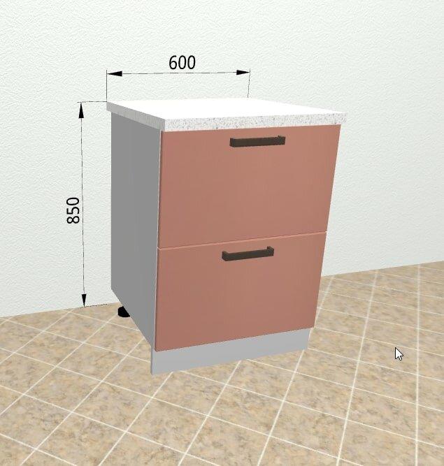 Шкаф нижний 2 ящика с метабоксами КМЯ600 Ройс