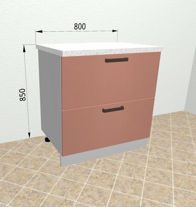 Шкаф нижний 2 ящика с метабоксами КМЯ800 Ройс