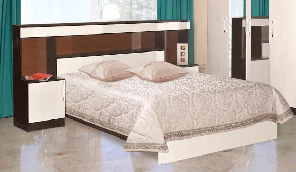 Кровать с прикроватным блоком Венеция с матрасом