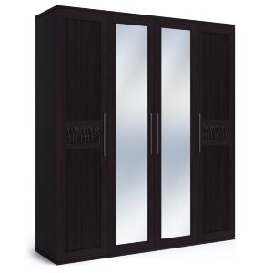 Шкаф 4-х дверный с двумя зеркалами Парма венге