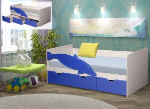 Кровать с ящиками с матрасом Дельфин МДФ